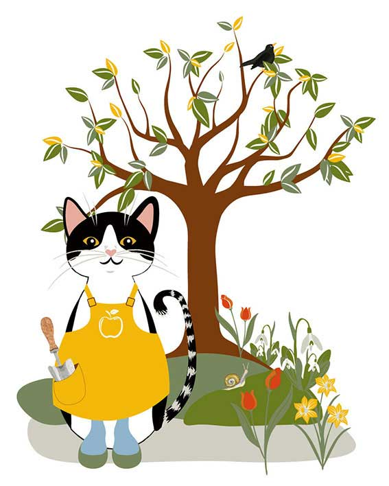 digital design cat in spring for ChaCult
